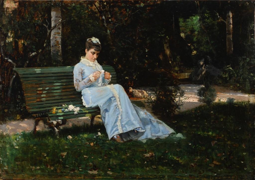 Cristiano-Banti-Ritratto-di-Alaide-Banti-in-giardino-1875-ca.-coll.-privata
